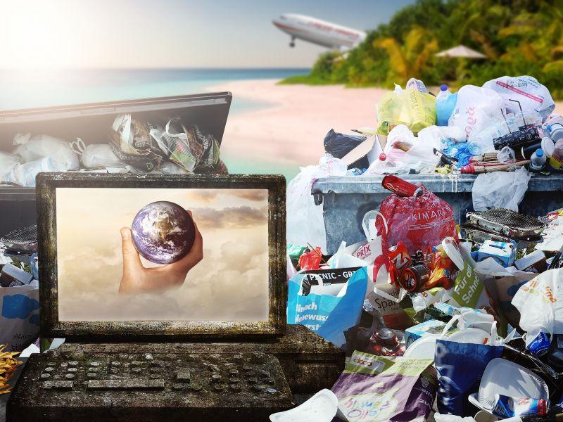 śmieci, monitor laptopa